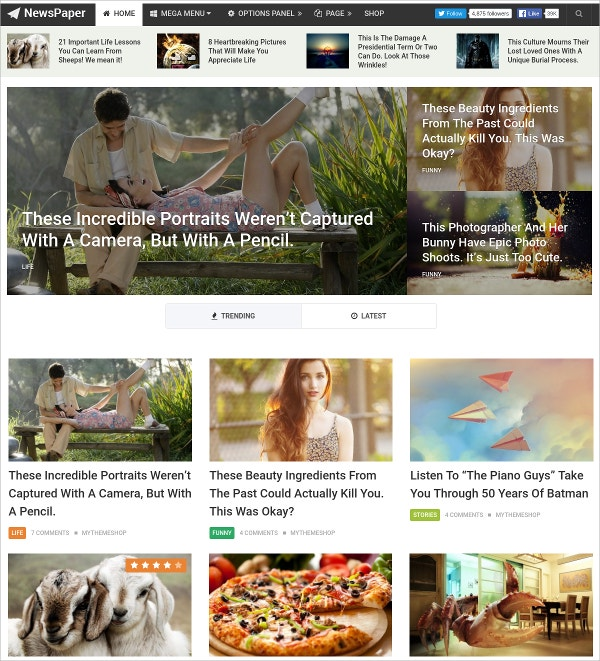 Beautiful Content Oriented News Paper WordPress Theme $59|