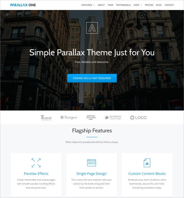 Parallax One Free News Responsive WordPress Theme
