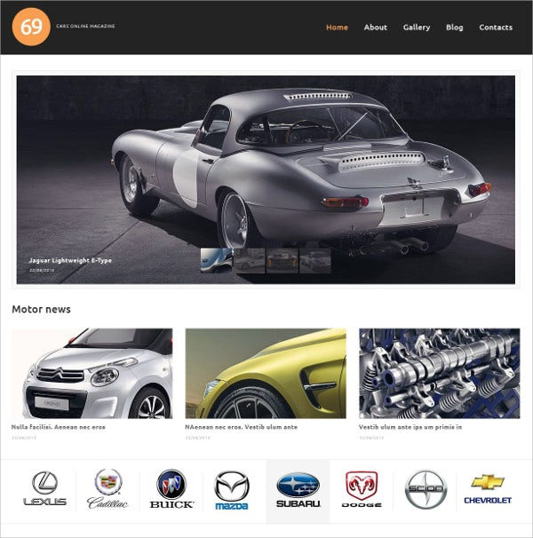 Cars Magazine WordPress Theme $75