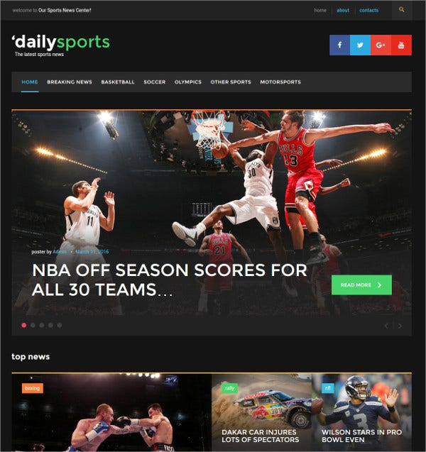 Sports News WordPress Theme $55