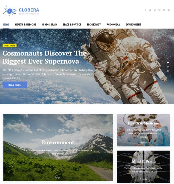 Scientific Magazine WordPress Theme $55