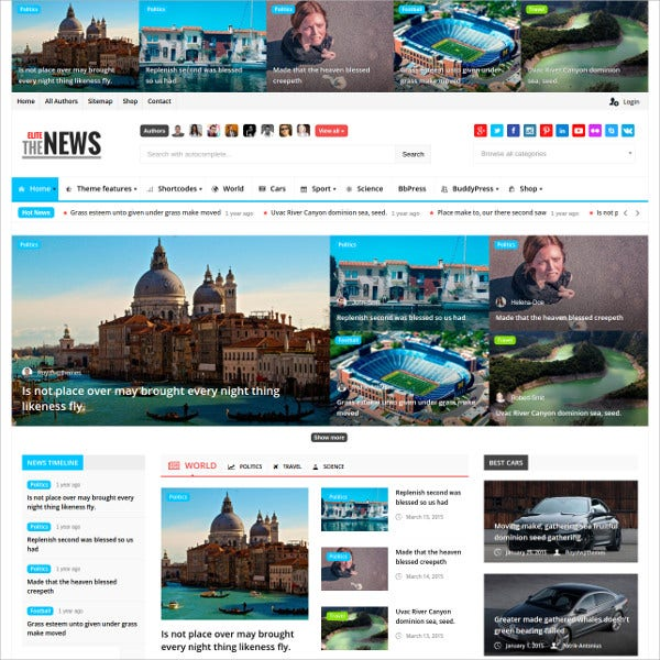 Magazine Blog BuddyPress WordPress Theme $59