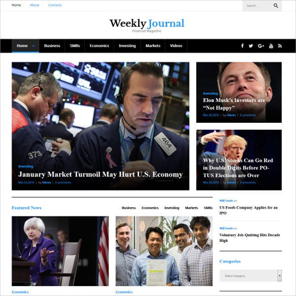 Financial News WordPress Theme $55