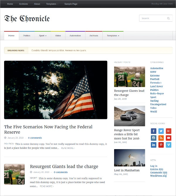 Responsive & Minimal News WordPress Theme $45