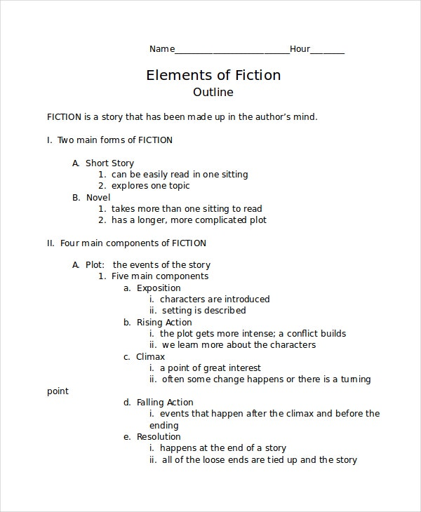 Fiction Story Outline Template