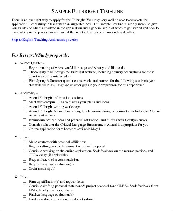 Time Frame Template For Research Proposal