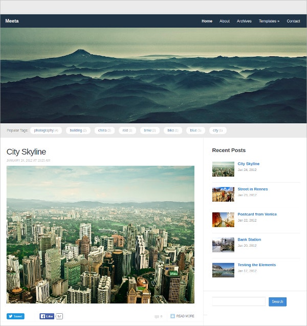 Free Simple Blogging WordPress Theme
