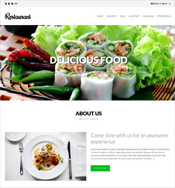 Free Restaurant Food WordPress Theme