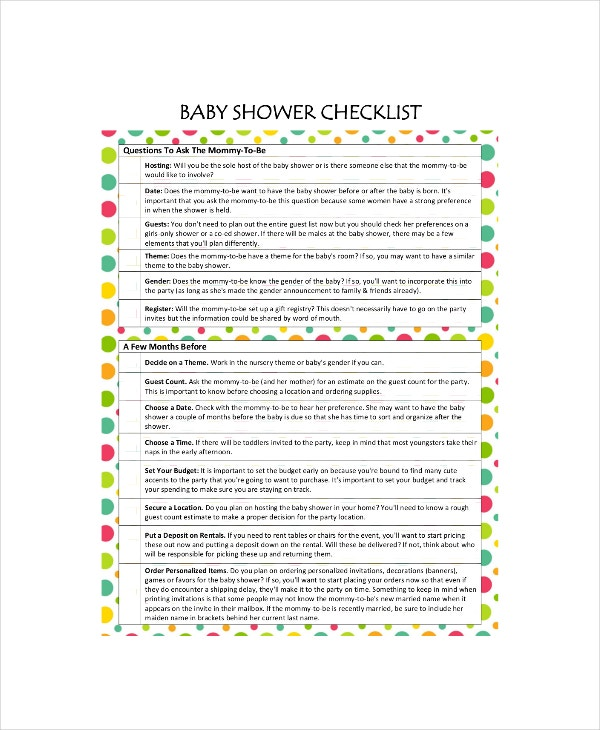 Baby Shower Registry Checklist   Free Excel Pdf Documents