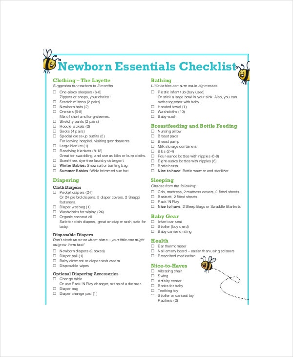 Essential Baby Registry Checklist   Pdf Documents Download  Free