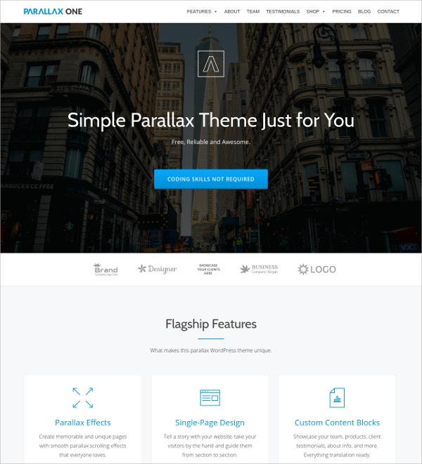 free one page wordpress business theme
