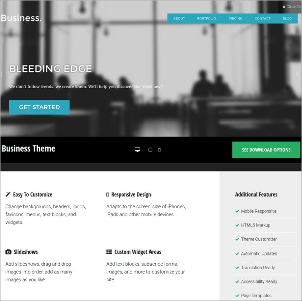 free business agencies wordpress theme