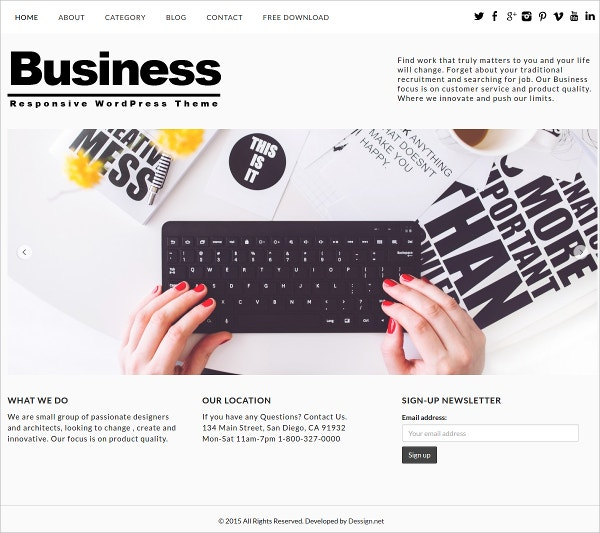 Free Clean, Design Business WordPress Theme