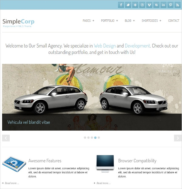 simple portfolio free business wordpress theme