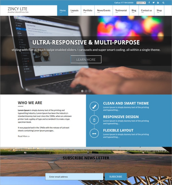 powerful free business wordpress theme