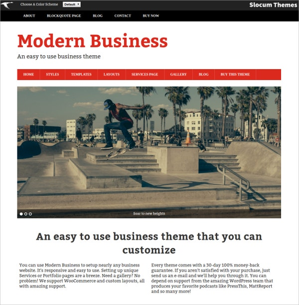 modern free business wordpress theme