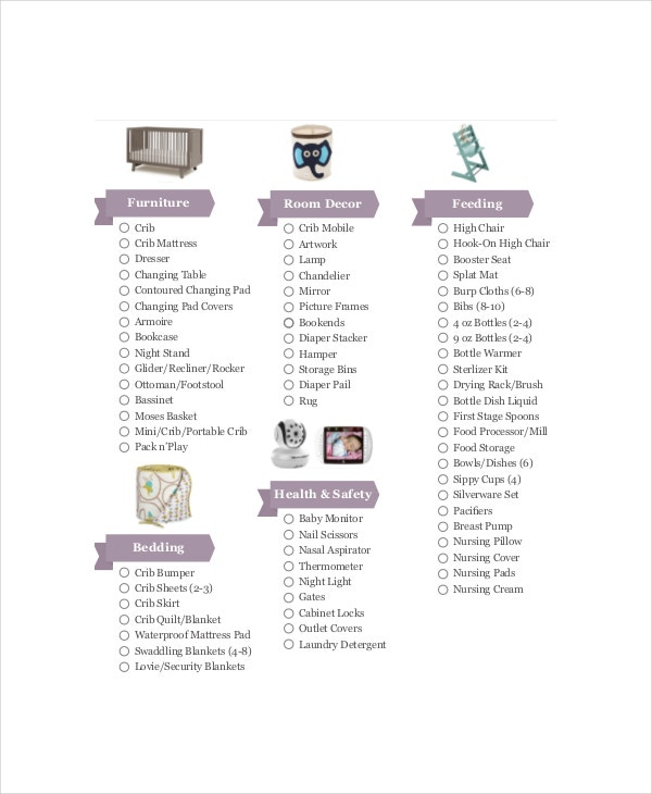 First Baby Registry Checklist   Free Pdf Documents Download