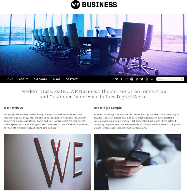 Free Digital World Business WordPress Theme