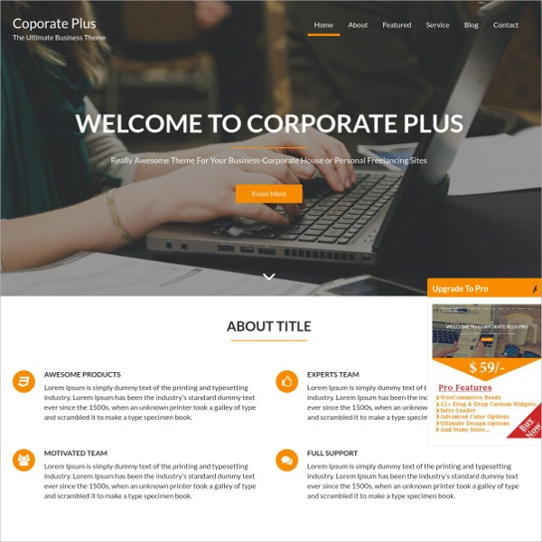 free awesome business corporate wordpress theme
