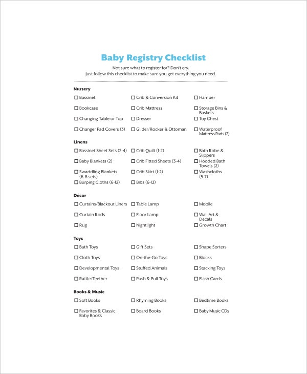 printable first baby registry checklist