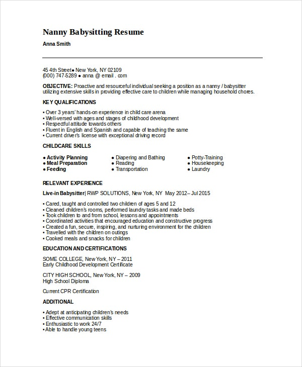 5+ Nanny Resume Templates  Babysitting On Resume