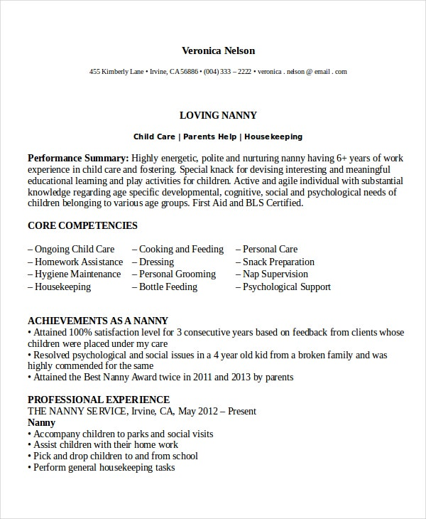 nanny resume template 5 free word pdf document download free - Nanny Resumes Examples