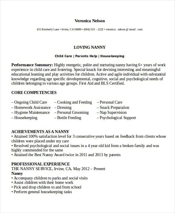 Nanny Resume Templates Free 27.05.2017