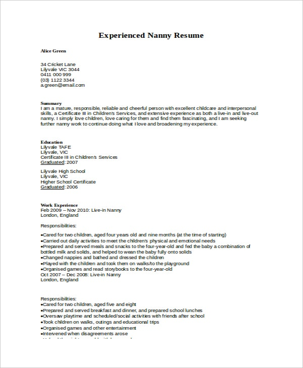 5+ Nanny Resume Templates  Nanny Resume Template
