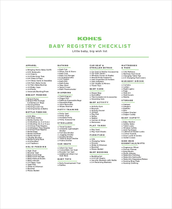 kohls first baby registr checklist
