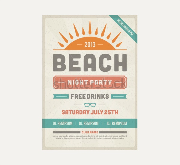 Retro Summer Party Design Poster