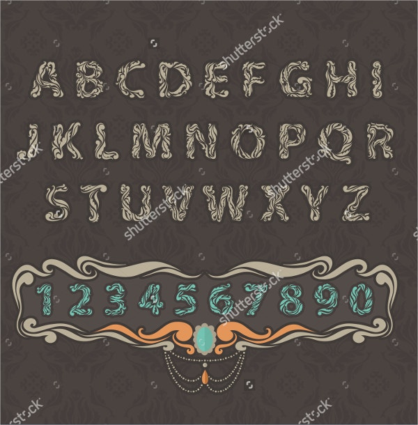 Ornament Letter With Floral Font