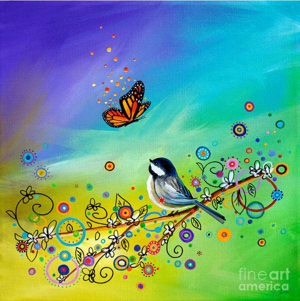 Bird & Butterfly Greetings Doodle Art Design