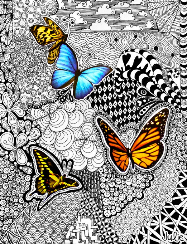 butterfly tangle colorful doodle art