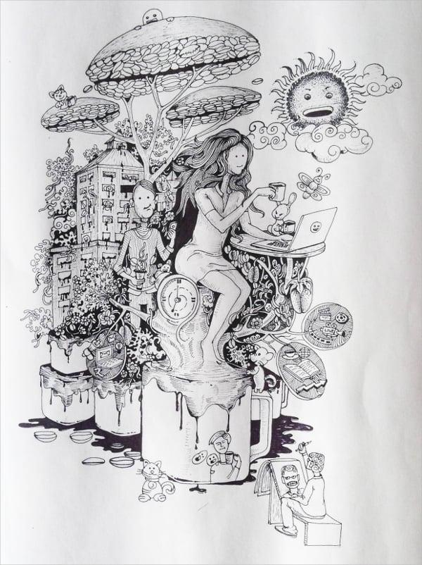 Coffee Doodle Art Design
