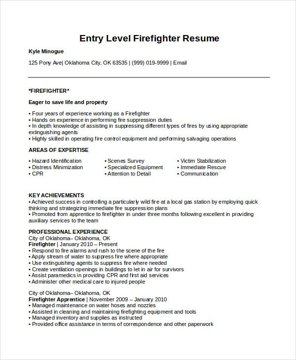 Exceptional Entry Level Firefighter Resume Template