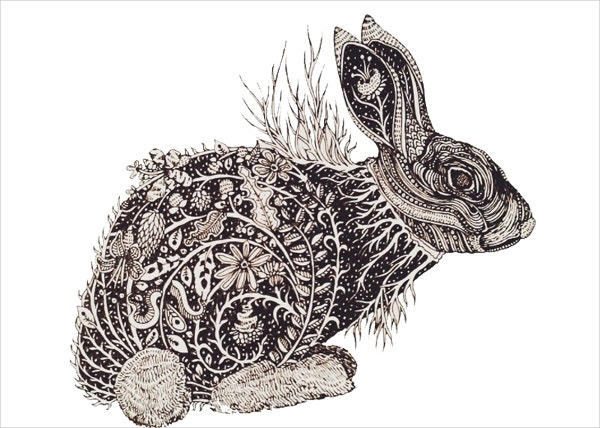 Rabbit's Dreamland Doodle Art