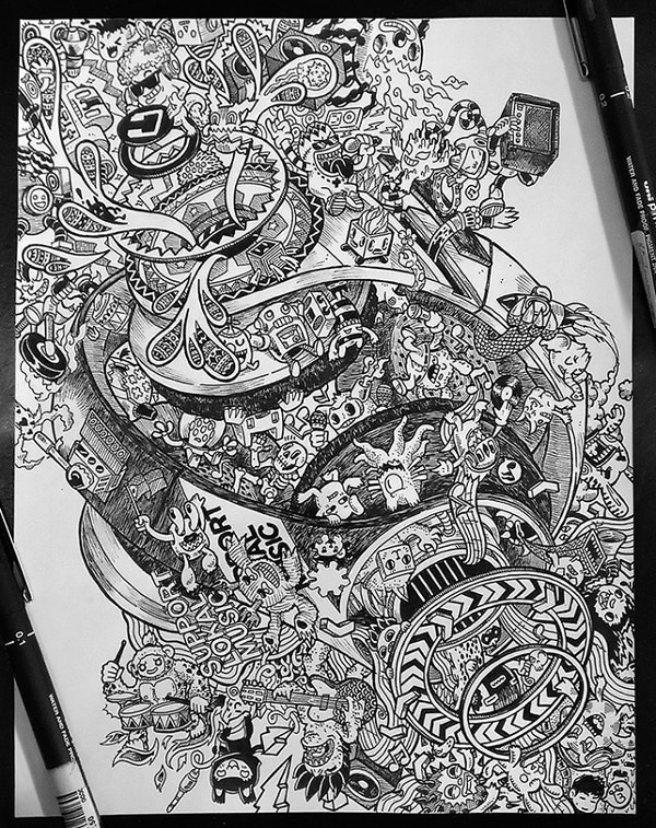 timbre gitara headphone doodle art