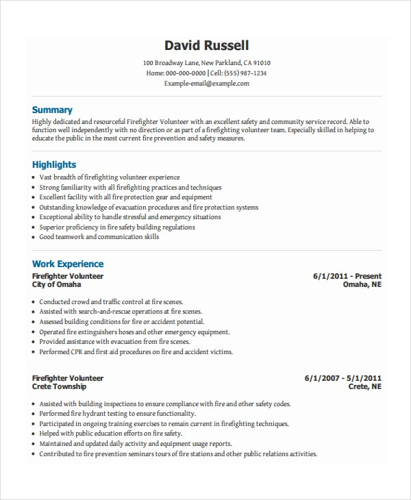 Volunteer Firefighter Resume  Resume Layouts Free