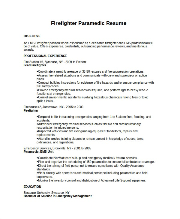Firefighter Paramedic Resume