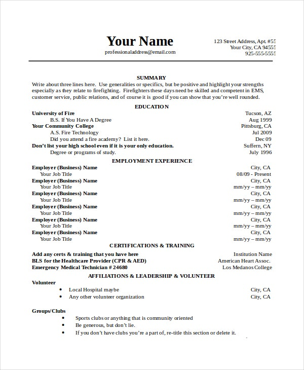 Job Resume Templates Examples: 7+ Firefighter Resume Templates - PDF, DOC