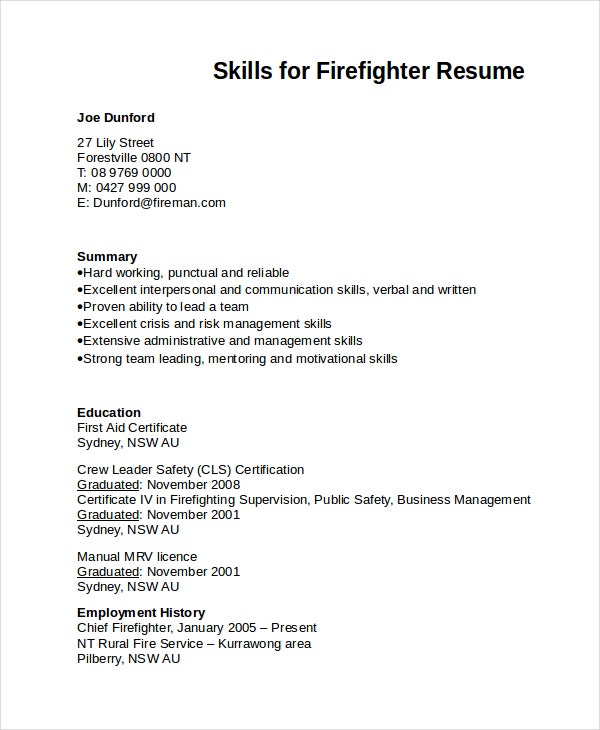 7+ Firefighter Resume Templates  Firefighter Resume Templates