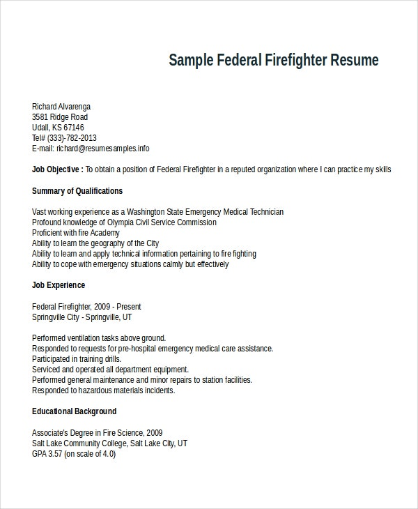 Sample Federal Firefighter Resume