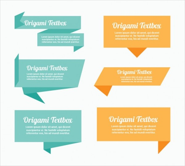 Origami Text Box Pack Free Vector