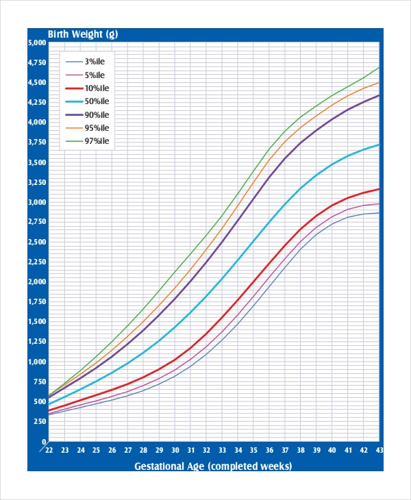 birth weight chart for gestational age