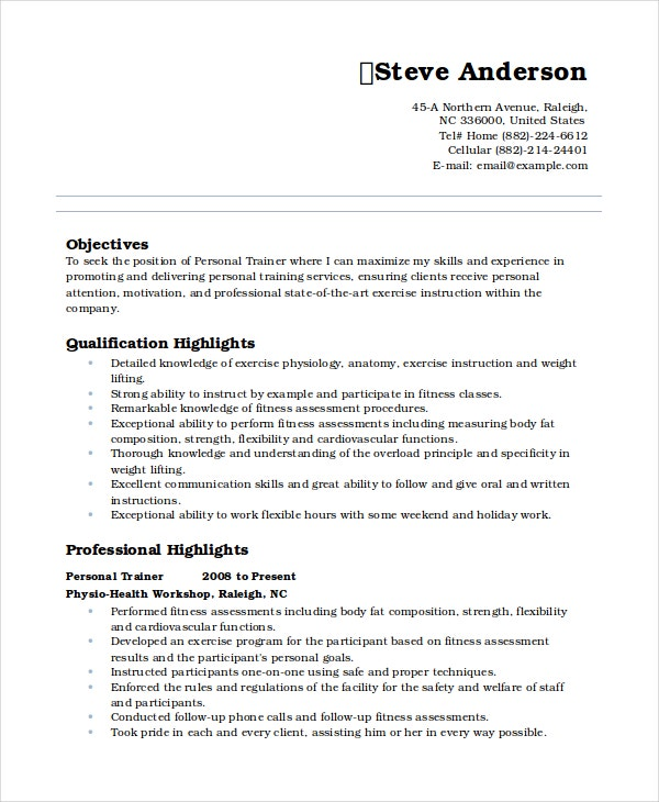 Personal Resume Template 6 Free Word Pdf Document
