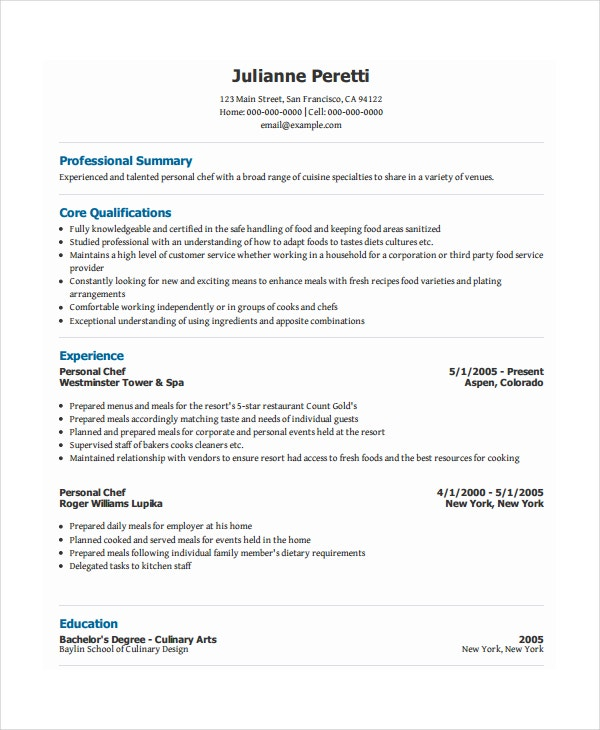 Personal Chef Resume  Example Of Personal Resume