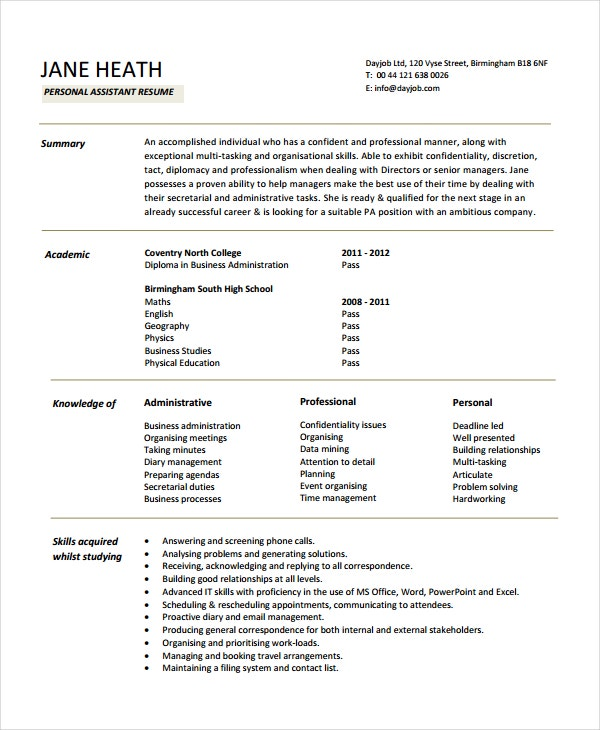 Personal Resume Template | Resume Format Download Pdf