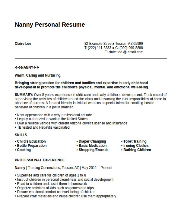Nanny Resume Example. Nanny Resume Template Create My Resume