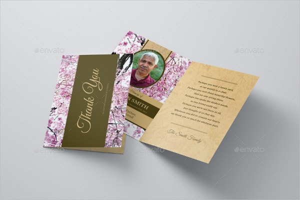Cherry Blossom Funeral Sympathy Thank You Card