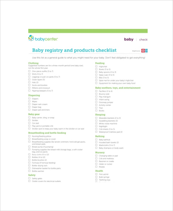 Complete Baby Registry Checklist   Free Pdf Documents Download